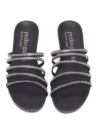 细节 - 点击放大 - PEDRO GARCÍA - Gala仿水晶缎面多重搭带平底拖鞋