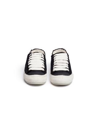 正面 -点击放大 - Pedro García - Parson绒面皮拼接缎面真丝运动鞋