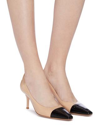模特儿示范图 - 点击放大 - GIANVITO ROSSI - Lucy拼色漆皮高跟鞋