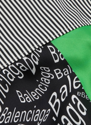- BALENCIAGA - 不对称丝巾拼接oevrsize条纹衬衫裙