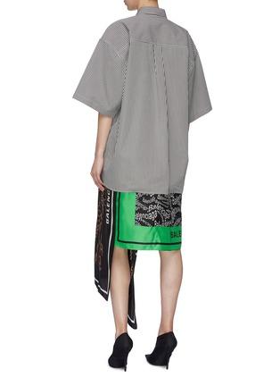 背面 - 点击放大 - BALENCIAGA - 不对称丝巾拼接oevrsize条纹衬衫裙