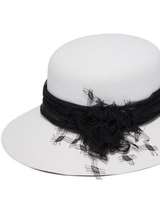 细节 - 点击放大 - Maison Michel - 蕾丝点缀网纱帽带宽檐毛毡帽