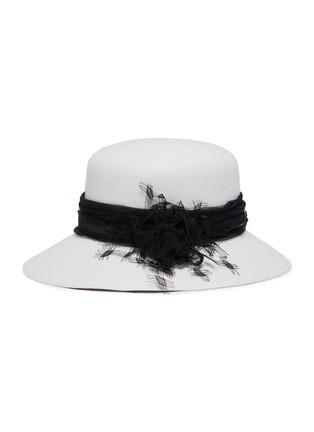 首图 - 点击放大 - Maison Michel - 蕾丝点缀网纱帽带宽檐毛毡帽