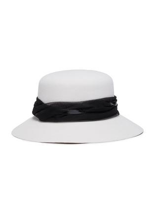 模特儿示范图 - 点击放大 - Maison Michel - 蕾丝点缀网纱帽带宽檐毛毡帽
