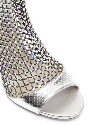 细节 - 点击放大 - RENÉ CAOVILLA - Galaxia仿水晶网格拼接真皮高跟凉鞋