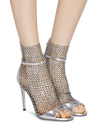 模特儿示范图 - 点击放大 - RENÉ CAOVILLA - Galaxia仿水晶网格拼接真皮高跟凉鞋