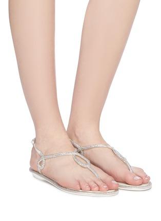 模特儿示范图 - 点击放大 - RENÉ CAOVILLA - 仿水晶搭带夹脚凉鞋