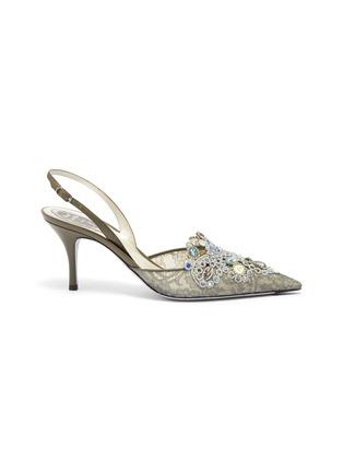 首图 - 点击放大 - René Caovilla - Veneziana仿宝石及仿水晶蕾丝露跟鞋