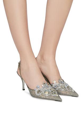 模特儿示范图 - 点击放大 - René Caovilla - Veneziana仿宝石及仿水晶蕾丝露跟鞋