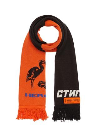 首图 - 点击放大 - HERON PRESTON - logo标语及苍鹭图案拼色针织围巾