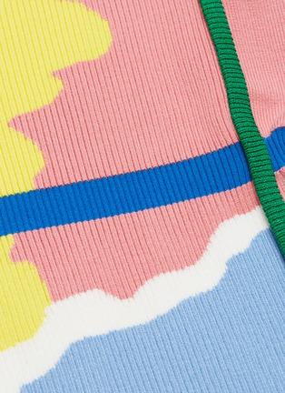 - i-am-chen - 抽象拼色条纹V领针织连衣裙