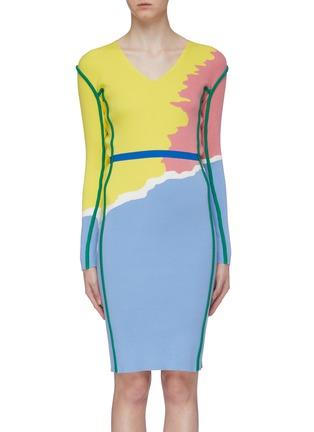 首图 - 点击放大 - i-am-chen - 抽象拼色条纹V领针织连衣裙