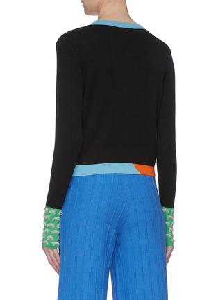 背面 - 点击放大 - i-am-chen - 挖剪镂空法式刺绣丝混羊绒针织衫