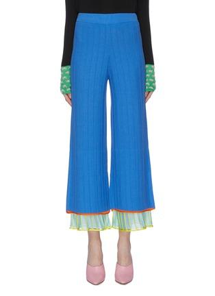 首图 - 点击放大 - i-am-chen - 布饰拼接条纹美丽诺羊毛针织阔腿裤