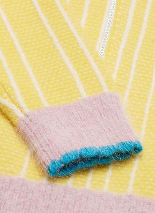 - i-am-chen - 拼色半开襟条纹美丽诺羊毛针织polo衫