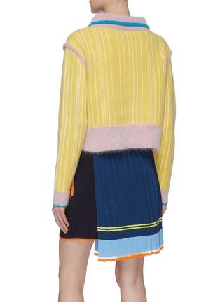 背面 - 点击放大 - i-am-chen - 拼色半开襟条纹美丽诺羊毛针织polo衫