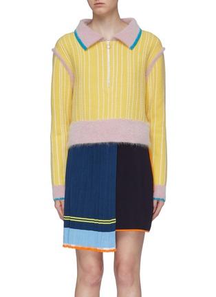 首图 - 点击放大 - i-am-chen - 拼色半开襟条纹美丽诺羊毛针织polo衫