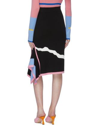 背面 - 点击放大 - i-am-chen - 垂坠布饰抽象波浪纹针织铅笔裙