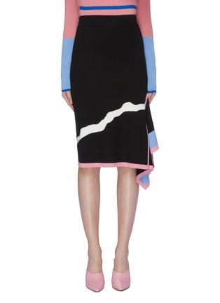 首图 - 点击放大 - i-am-chen - 垂坠布饰抽象波浪纹针织铅笔裙