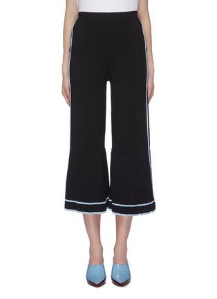 首图 - 点击放大 - i-am-chen - 百褶裤腿条纹针织阔腿裤