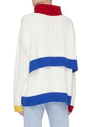 背面 - 点击放大 - I-AM-CHEN - 搭叠背面oversize拼色绞花纹针织衫