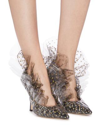模特儿示范图 - 点击放大 - MIDNIGHT 00 - Shell PVC拼接闪粉波点网纱高跟鞋