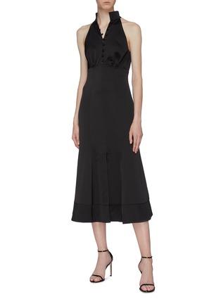 模特儿示范图 - 点击放大 - C/MEO COLLECTIVE  - Provided钮扣点缀褶裥缎面连衣裙