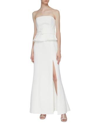 模特儿示范图 - 点击放大 - C/MEO COLLECTIVE  - Mode荷叶边开衩抹胸鱼尾礼服裙