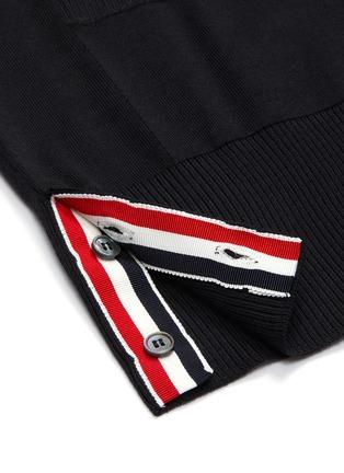 - THOM BROWNE - 四重条纹微透视羊毛针织开衫