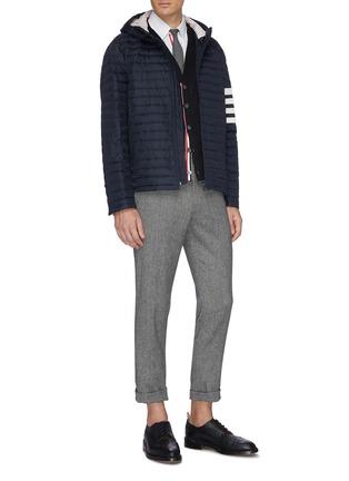 模特儿示范图 - 点击放大 - THOM BROWNE - 四重条纹微透视羊毛针织开衫