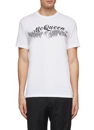 首图 - 点击放大 - Alexander McQueen - logo植物印花纯棉T恤