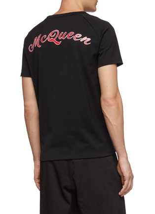 背面 - 点击放大 - Alexander McQueen - 骷髅头及logo印花纯棉T恤