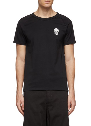 首图 - 点击放大 - Alexander McQueen - 骷髅头及logo印花纯棉T恤