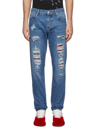 首图 - 点击放大 - ALEXANDER MCQUEEN - 格纹补丁破洞水洗牛仔裤