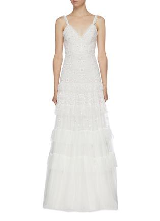 首图 - 点击放大 - Needle & Thread - Gracie花卉刺绣波点网纱吊带礼服裙