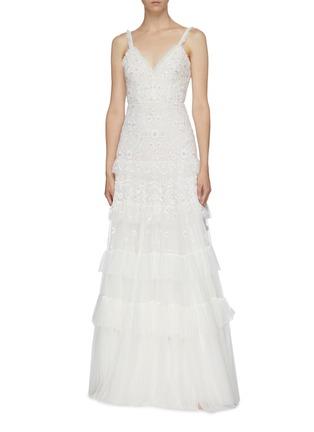 模特儿示范图 - 点击放大 - Needle & Thread - Gracie花卉刺绣波点网纱吊带礼服裙