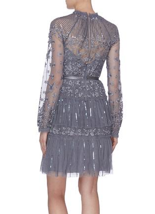 背面 - 点击放大 - Needle & Thread - Starling亮片条纹花鸟刺绣网纱连衣裙