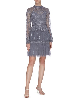 模特儿示范图 - 点击放大 - Needle & Thread - Starling亮片条纹花鸟刺绣网纱连衣裙