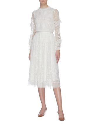 模特儿示范图 - 点击放大 - Needle & Thread - Eleanor花卉刺绣波点网纱半裙