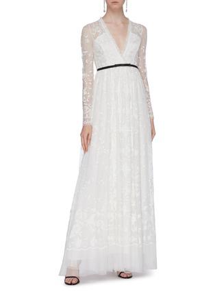 模特儿示范图 - 点击放大 - Needle & Thread - Eleanor花卉刺绣波点网纱礼服裙