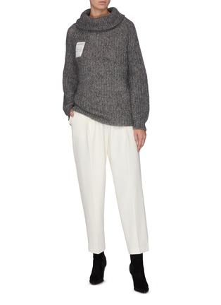 模特儿示范图 - 点击放大 - SHORT SENTENCE - 抽绳高领混马海毛及绵羊毛针织衫