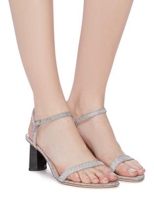 模特儿示范图 - 点击放大 - BY FAR - Magnolia搭带闪粉真皮高跟凉鞋