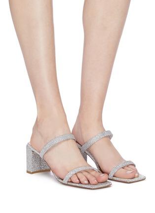 模特儿示范图 - 点击放大 - BY FAR - Tanya方头搭带闪粉粗跟凉鞋