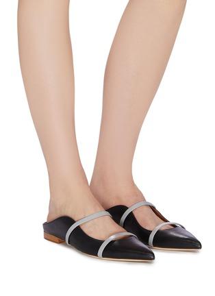 模特儿示范图 - 点击放大 - Malone Souliers - Maureen拼色双重搭带真皮拖鞋