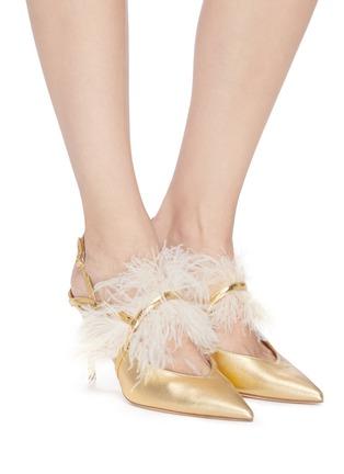 模特儿示范图 - 点击放大 - MALONE SOULIERS - Agnes羽毛搭带金属感真皮露跟鞋