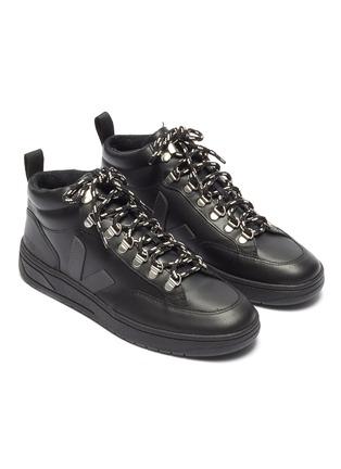 细节 - 点击放大 - VEJA - Roraima Bastille V字拼贴真皮高筒运动鞋