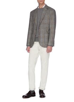 模特儿示范图 - 点击放大 - Brunello Cucinelli - 格纹初剪羊毛西服外套
