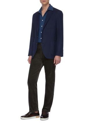 模特儿示范图 - 点击放大 - Brunello Cucinelli - 羊毛混棉及丝西服外套