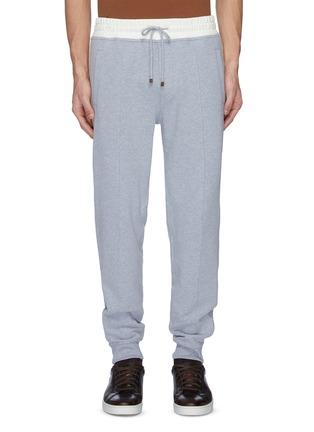首图 - 点击放大 - Brunello Cucinelli - 拼接设计棉质抽绳休闲裤