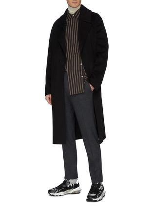 模特儿示范图 - 点击放大 - Solid Homme - 针扣腰带羊毛混羊绒大衣